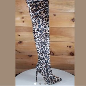 Shoes - Velvet leopard over the knee boots